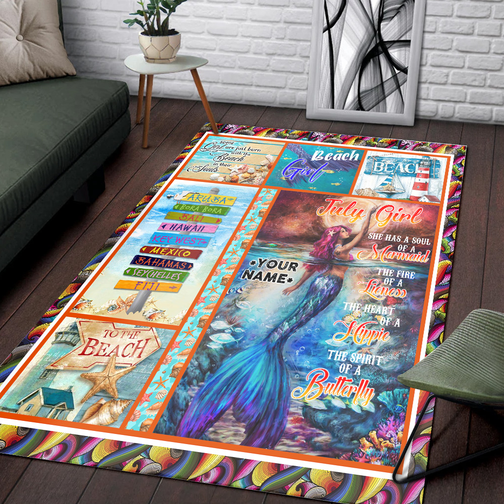 Personalized July Girl A Soul Of A Mermaid Pattern 2 Vintage Area Rug Anti-Skid Floor Carpet For Living Room Dinning Room Bedroom Office