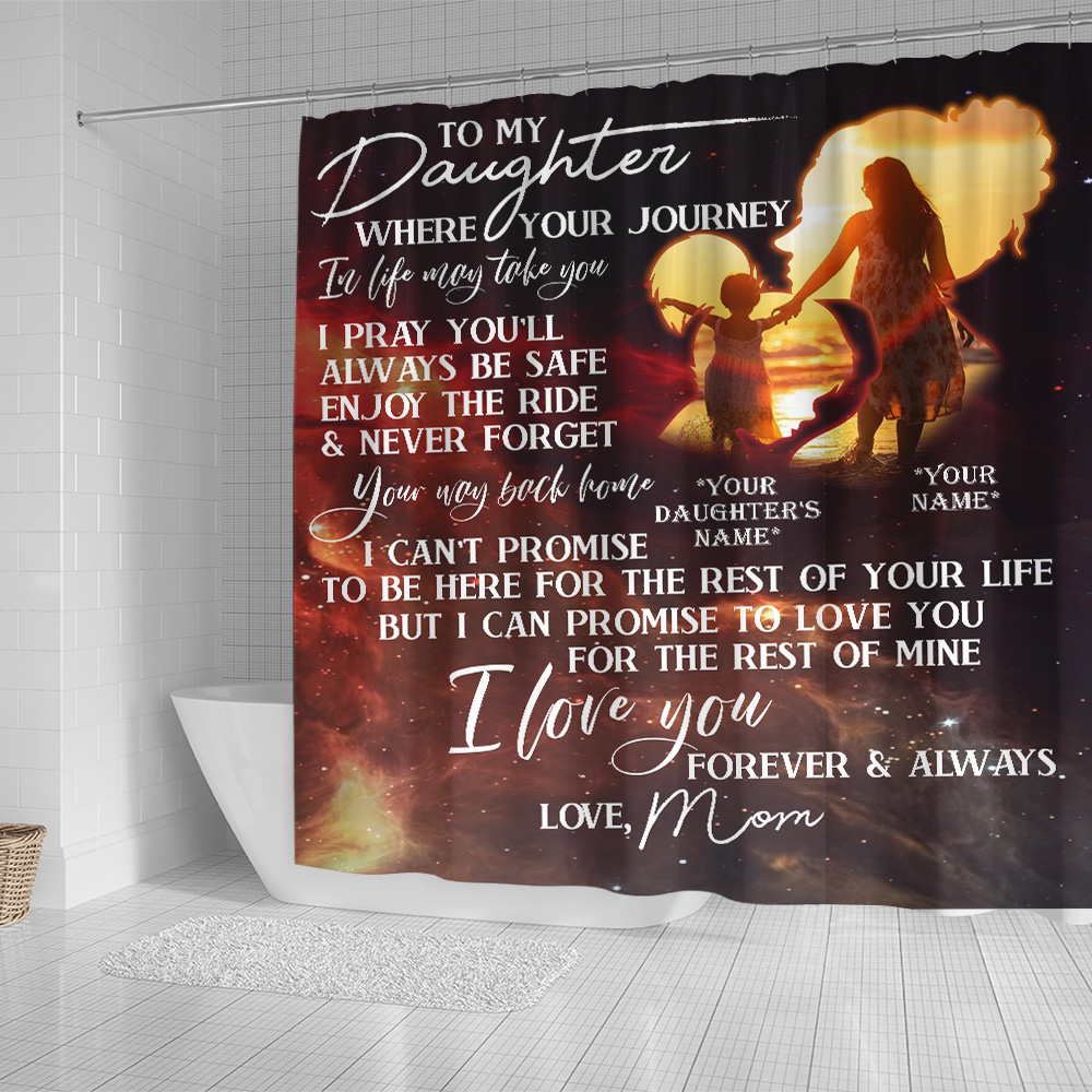 Personalized Shower Curtain 71 X 71 Inch To My Daughter I Pray You'll Always Be Safe Set 12 Hooks Decorative Bath Modern Bathroom Accessories Machine Washable