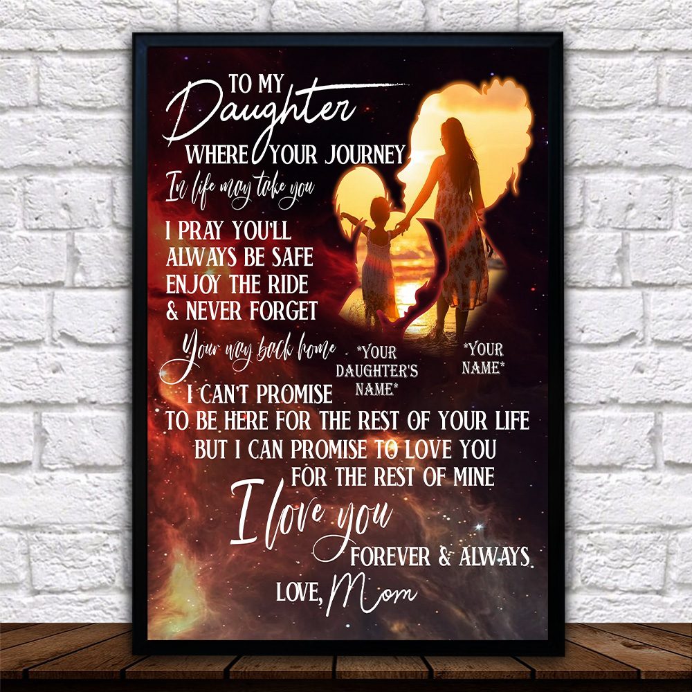 Personalized Wall Art Poster Canvas 1 Panel To My Daughter I Pray You'll Always Be Safe Great Idea For Living Home Decorations Birthday Christmas Aniversary