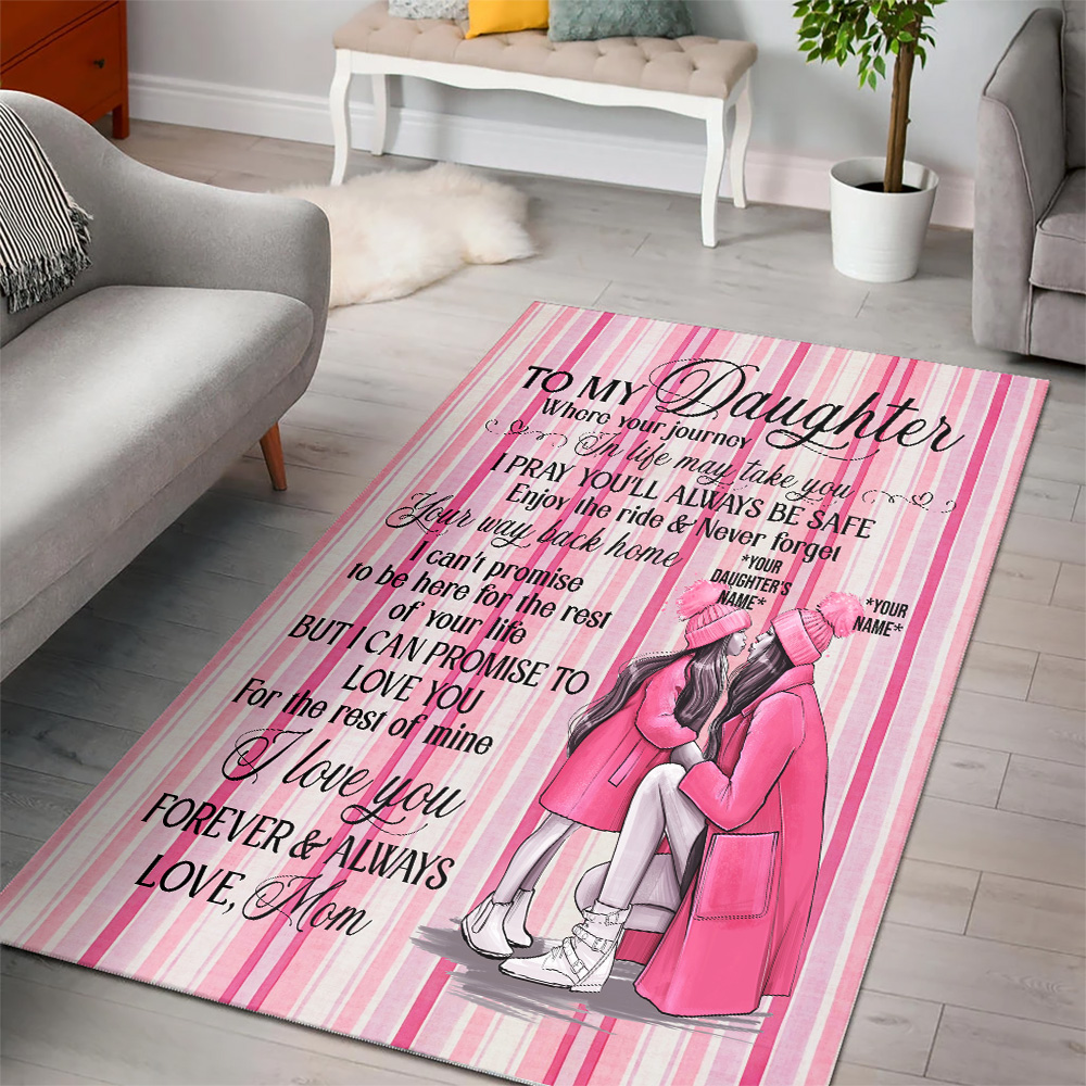 Personalized Floor Area Rugs To My Daughter I Pray You'll Always Be Safe Indoor Home Decor Carpets Suitable For Children Living Room Bedroom Birthday Christmas Aniversary