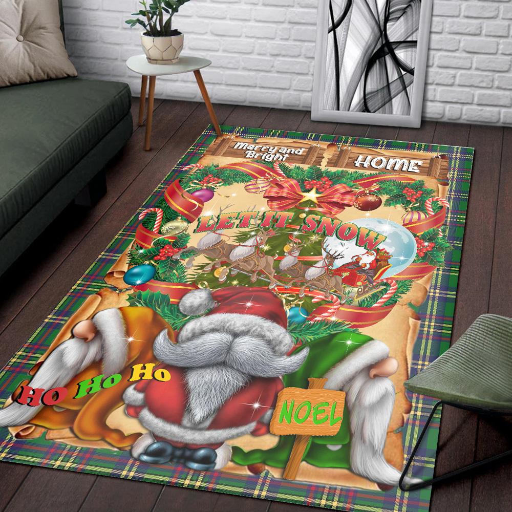Personalized Floor Area Rugs Let It Snow Christmas Gnome Pattern 2 Indoor Home Decor Carpets Suitable For Children Living Room Bedroom Birthday Christmas Aniversary