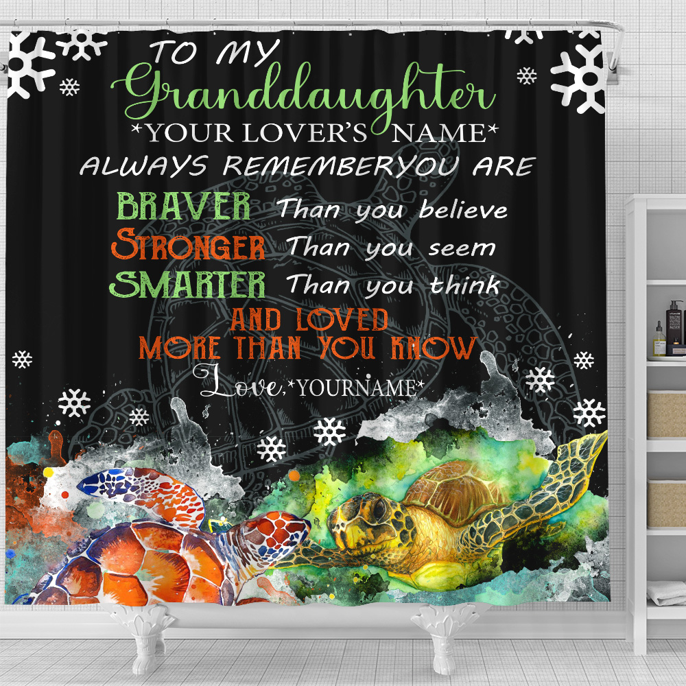 Personalized Shower Curtain 71 X 71 Inch To My Granddaughter Always Remember You Are And Love More Than You Know Pattern 1 Set 12 Hooks Decorative Bath Modern Bathroom Accessories Machine Washable