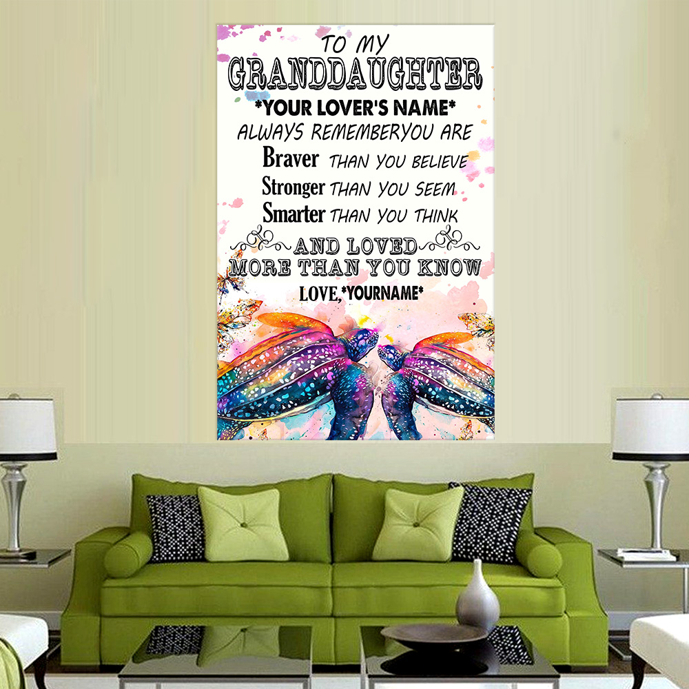 Personalized Wall Art Poster Canvas 1 Panel To My Granddaughter Always Remember You Are And Love More Than You Know Pattern 2 Great Idea For Living Home Decorations Birthday Christmas Aniversary