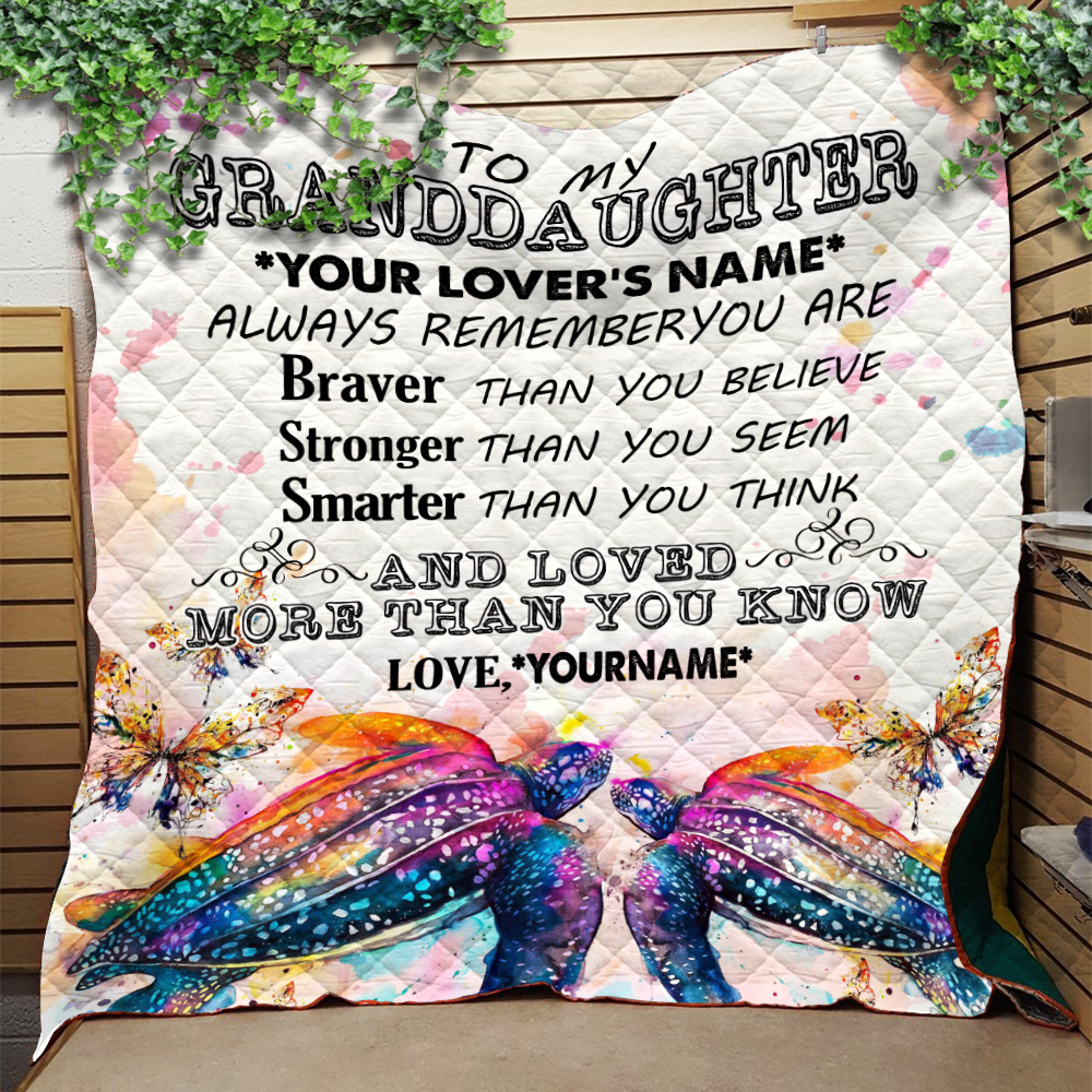 Personalized Quilt Throw Blanket To My Granddaughter Always Remember You Are And Love More Than You Know Pattern 2 Lightweight Super Soft Cozy For Decorative Couch Sofa Bed