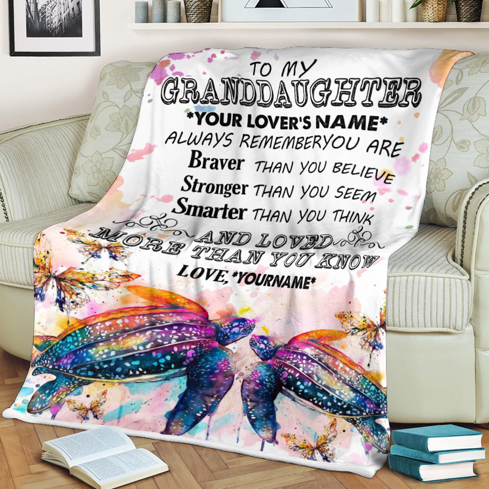 Personalized Fleece Throw Blanket To My Granddaughter Always Remember You Are And Love More Than You Know Pattern 2 Lightweight Super Soft Cozy For Decorative Couch Sofa Bed