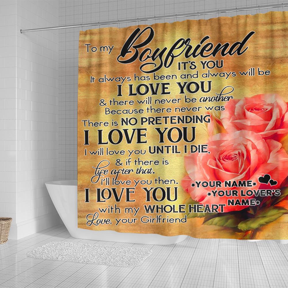 Personalized Lovely Shower Curtain To My Boyfriend I Will Love You Until I Die Pattern 2 Set 12 Hooks Decorative Bath Modern Bathroom Accessories Machine Washable