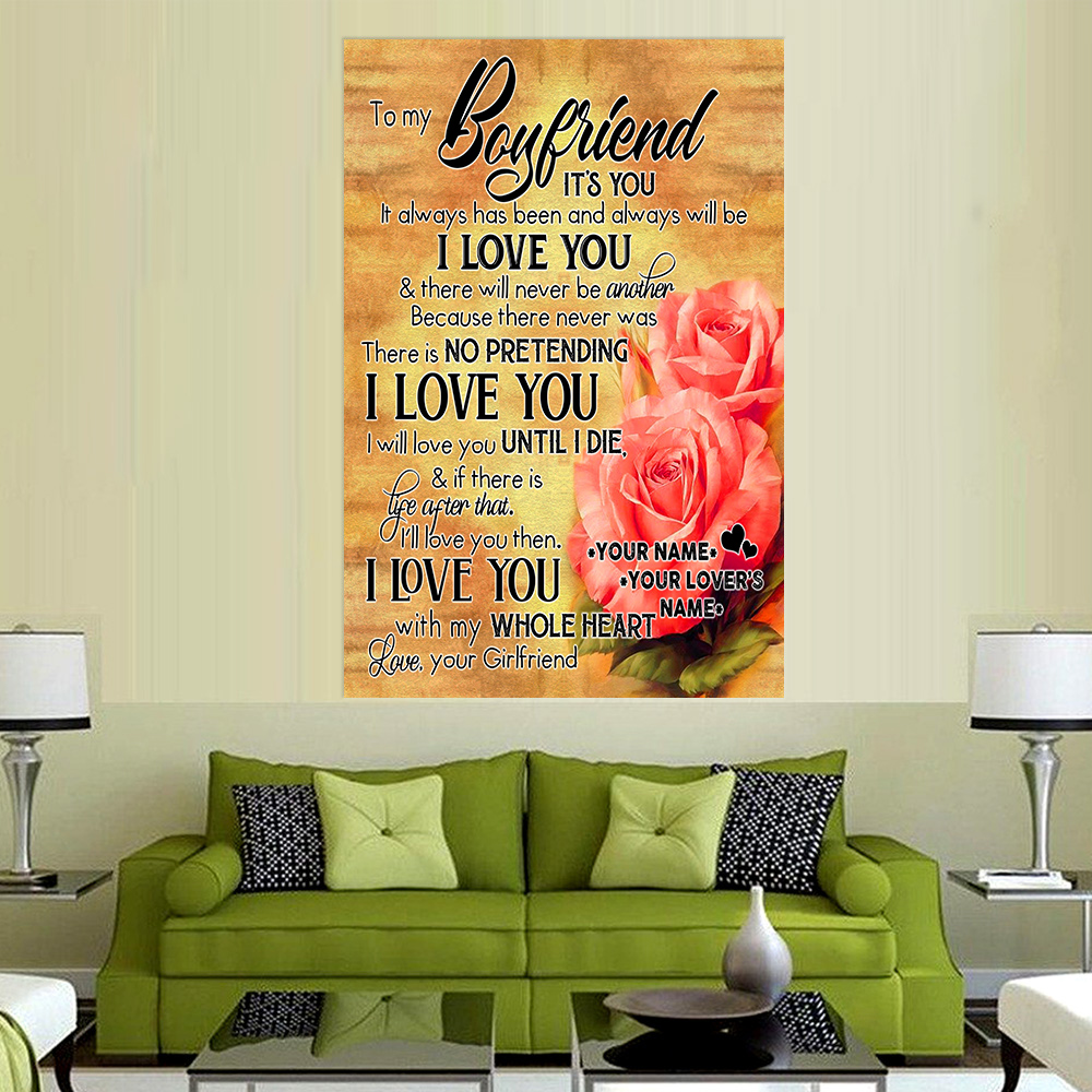 Personalized Lovely Wall Art Poster To My Boyfriend I Will Love You Until I Die Pattern 2 Prints Decoracion Wall Art Picture Living Room Wall