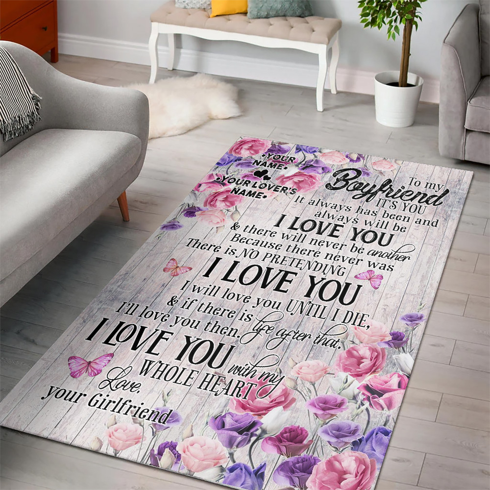 Personalized Lovely To My Boyfriend I Will Love You Until I Die Pattern 1 Vintage Area Rug Anti-Skid Floor Carpet For Living Room Dinning Room Bedroom Office