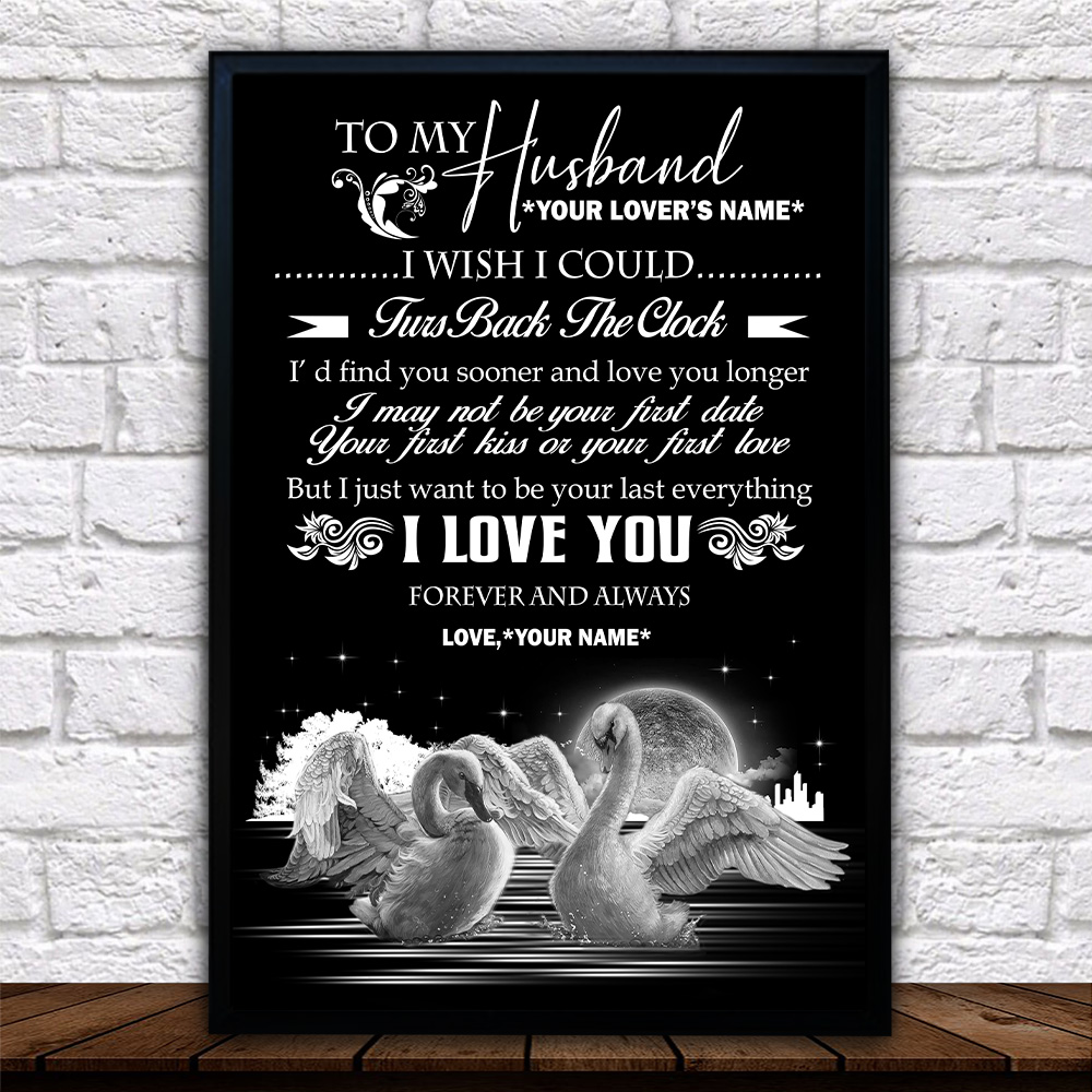 Personalized Wall Art Poster Canvas 1 Panel To My Husband I With I Could Turn Back The Clock I Love You Forever And Always Pattern 1 Great Idea For Living Home Decorations Birthday Christmas Aniversary