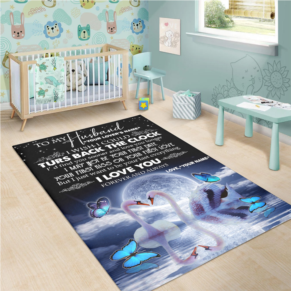 Personalized Floor Area Rugs To My Husband I With I Could Turn Back The Clock I Love You Forever And Always Pattern 2 Indoor Home Decor Carpets Suitable For Children Living Room Bedroom Birthday Christmas Aniversary