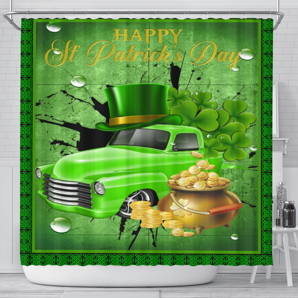 Personalized Lovely Shower Curtain Happy Irish St Patrick's Day Pattern 1 Set 12 Hooks Decorative Bath Modern Bathroom Accessories Machine Washable