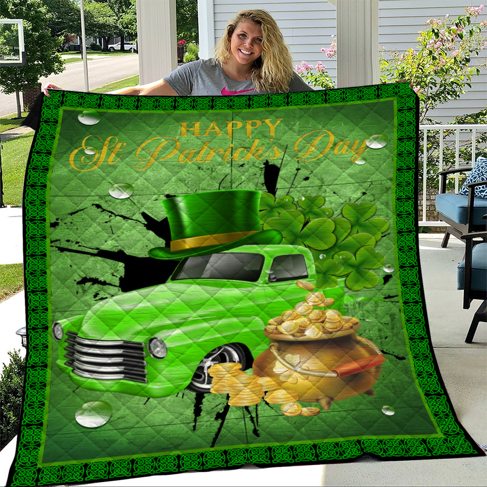 Personalized Lovely Quilt Throw Blanket Happy Irish St Patrick's Day Pattern 1 Lightweight Super Soft Cozy For Decorative Couch Sofa Bed