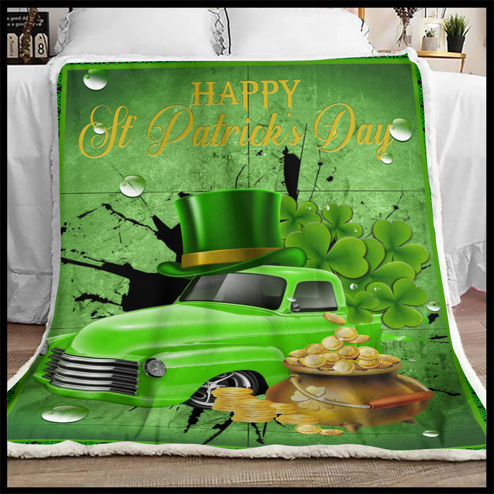 Personalized Lovely Fleece Throw Blanket Happy Irish St Patrick's Day Pattern 1 Lightweight Super Soft Cozy For Decorative Couch Sofa Bed