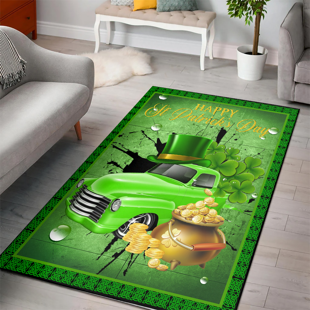 Personalized Lovely Happy Irish St Patrick's Day Pattern 1 Vintage Area Rug Anti-Skid Floor Carpet For Living Room Dinning Room Bedroom Office