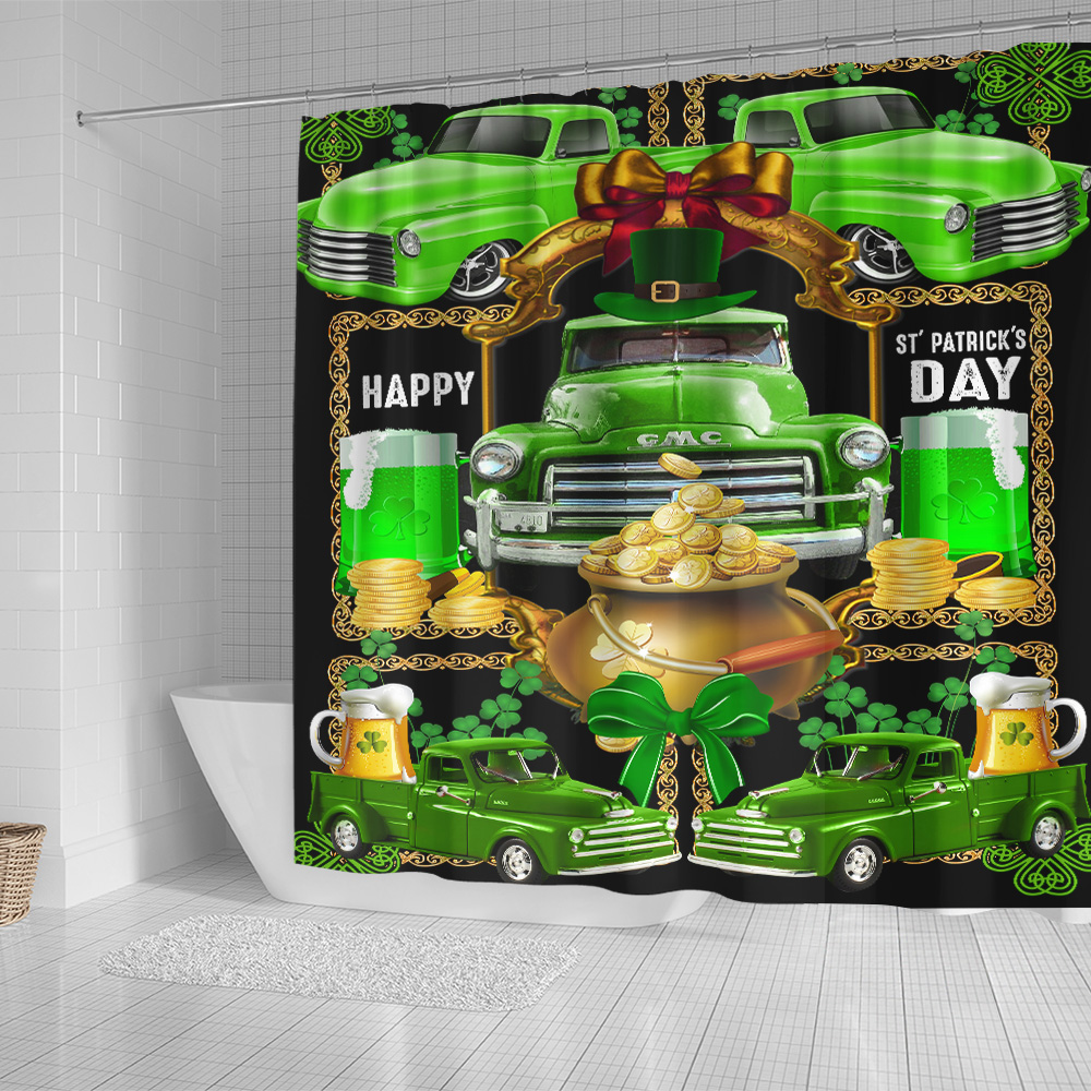 Personalized Lovely Shower Curtain Happy Irish St Patrick's Day Pattern 2 Set 12 Hooks Decorative Bath Modern Bathroom Accessories Machine Washable