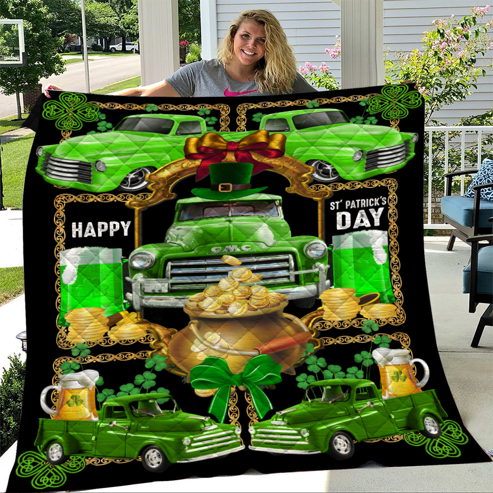 Personalized Lovely Quilt Throw Blanket Happy Irish St Patrick's Day Pattern 2 Lightweight Super Soft Cozy For Decorative Couch Sofa Bed