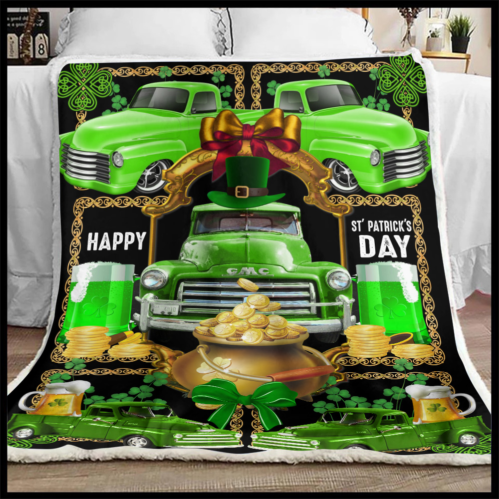 Personalized Lovely Fleece Throw Blanket Happy Irish St Patrick's Day Pattern 2 Lightweight Super Soft Cozy For Decorative Couch Sofa Bed