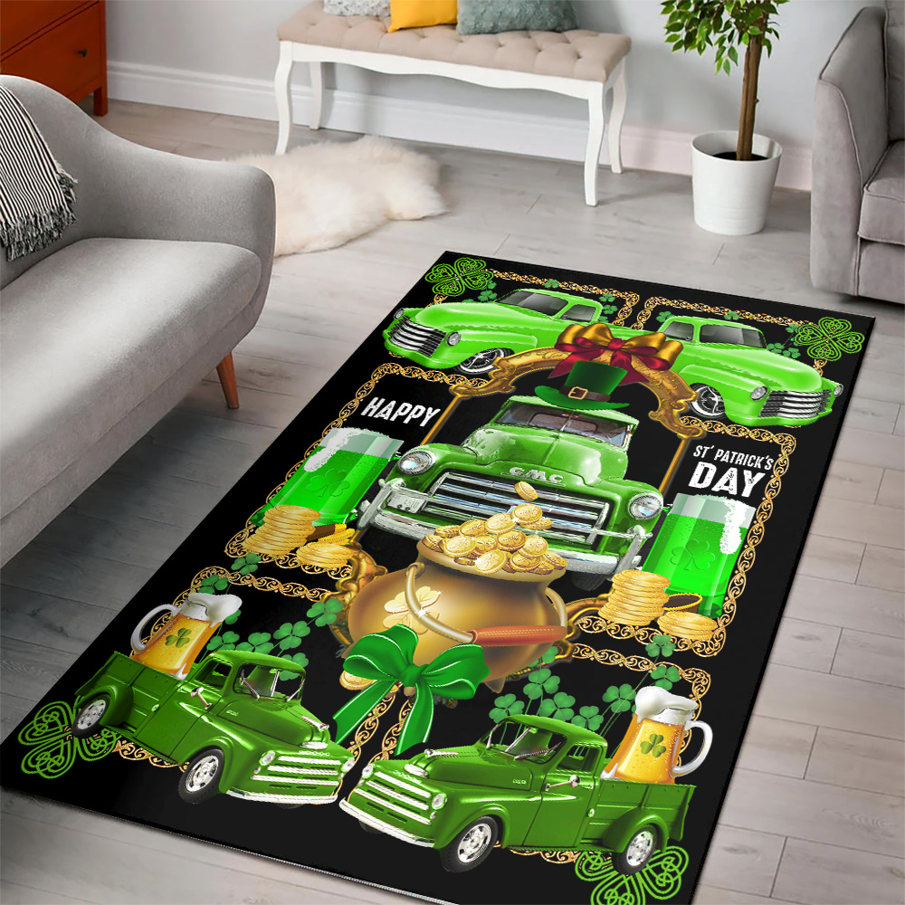 Personalized Lovely Happy Irish St Patrick's Day Pattern 2 Vintage Area Rug Anti-Skid Floor Carpet For Living Room Dinning Room Bedroom Office