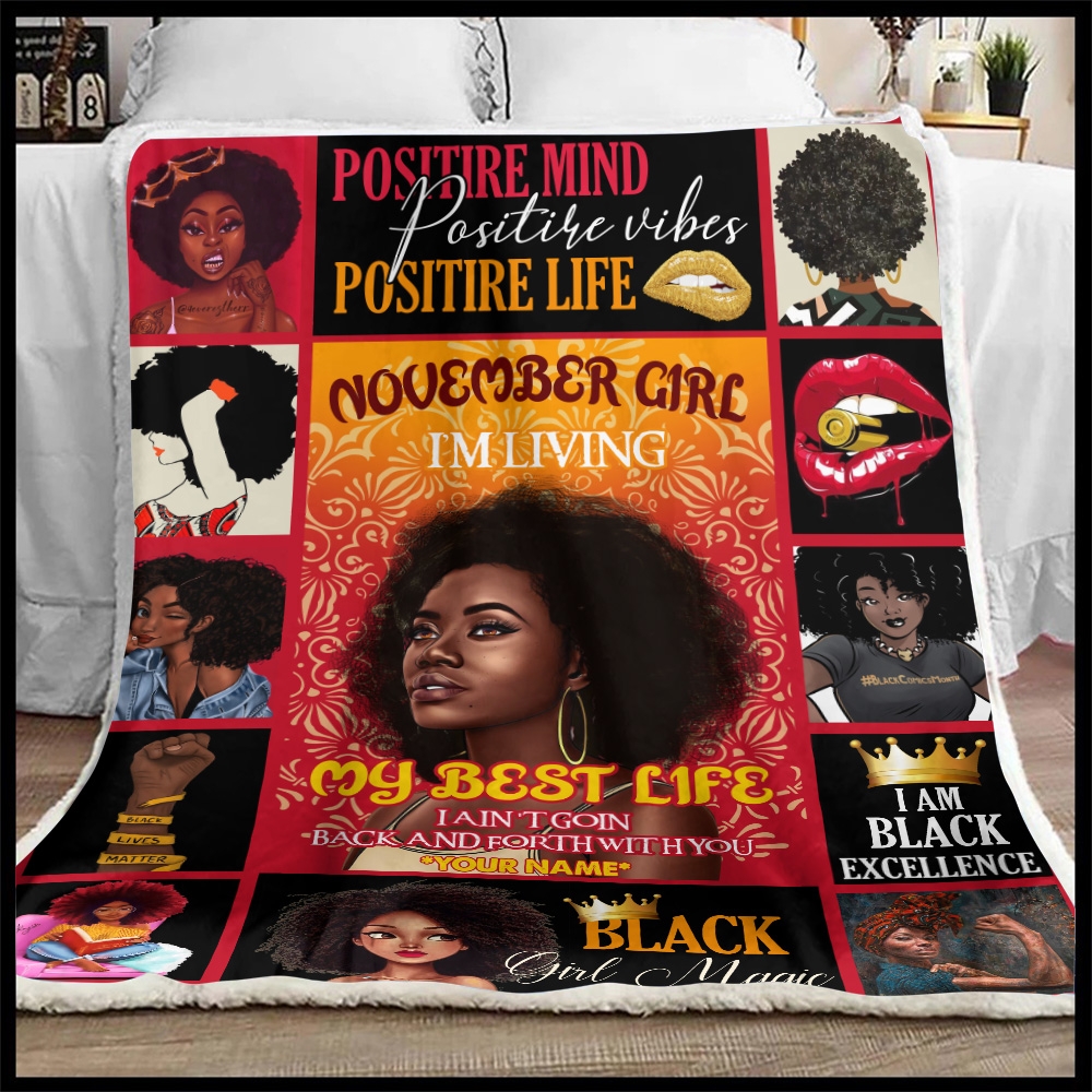Personalized Fleece Throw Blanket November Girl I'm Living My Best Life Pattern 1 Lightweight Super Soft Cozy For Decorative Couch Sofa Bed
