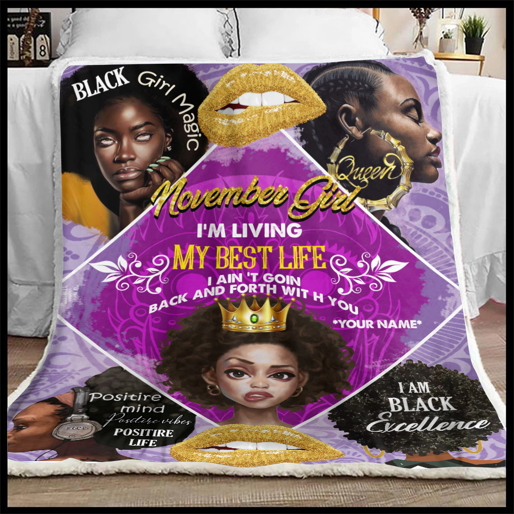 Personalized Fleece Throw Blanket November Girl I'm Living My Best Life Pattern 2 Lightweight Super Soft Cozy For Decorative Couch Sofa Bed