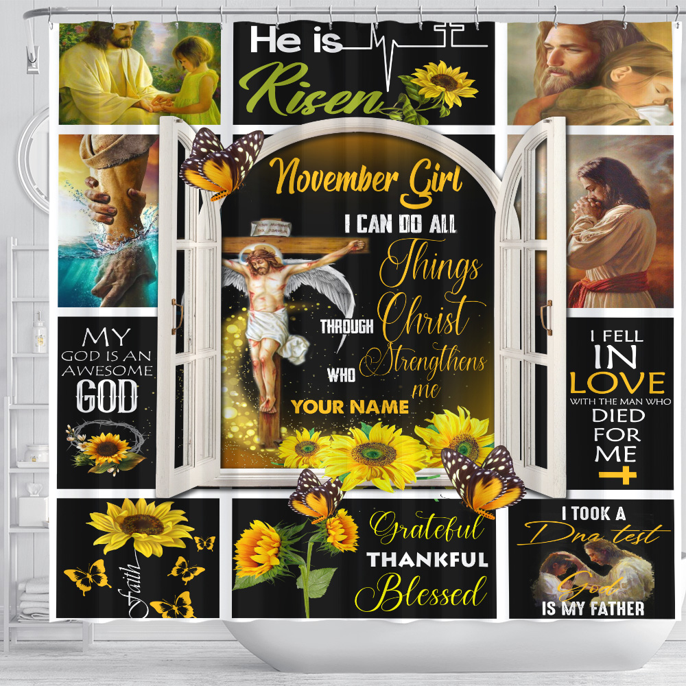Personalized Shower Curtain November Girl I Can Do All Things Pattern 1 Set 12 Hooks Decorative Bath Modern Bathroom Accessories Machine Washable