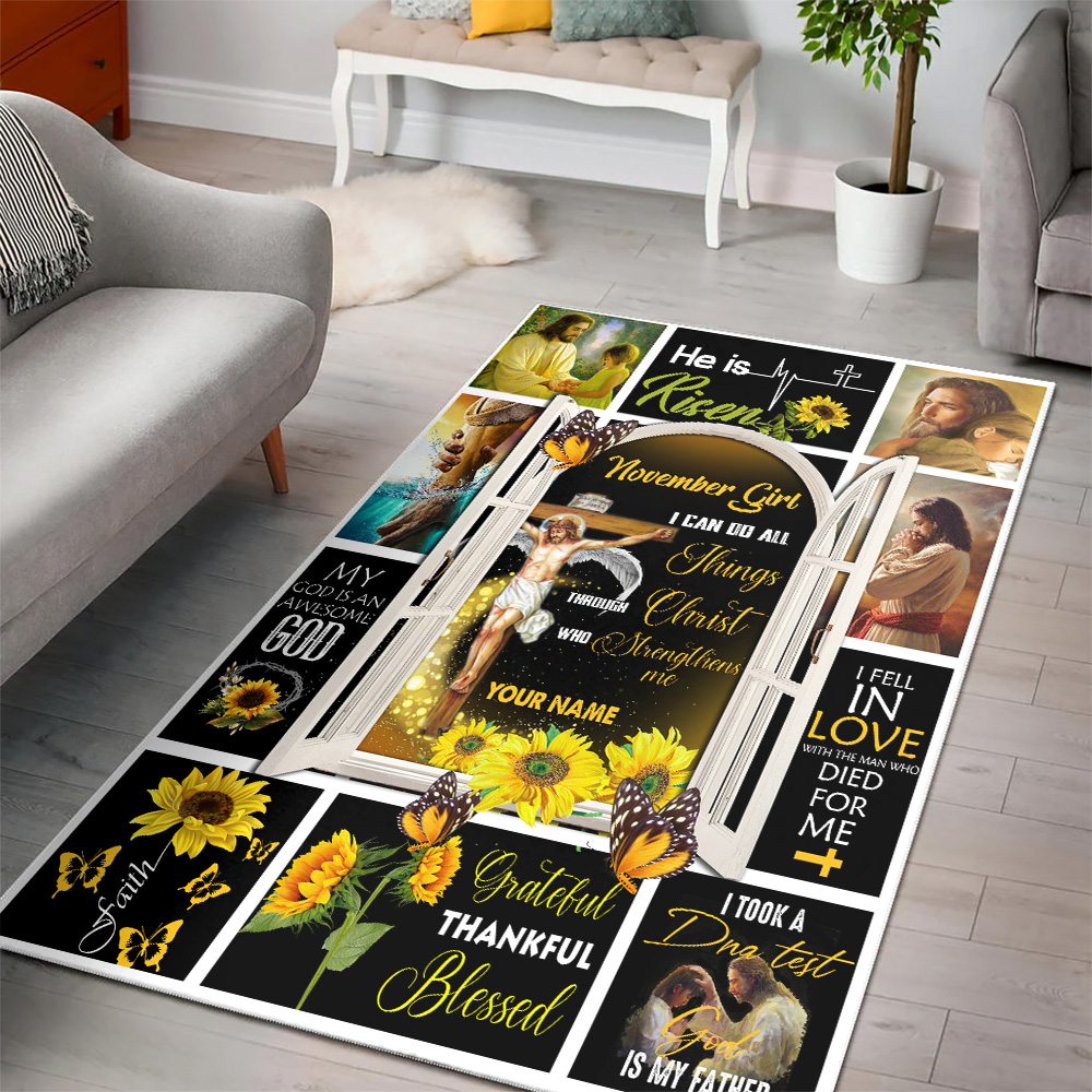 Personalized November Girl I Can Do All Things Pattern 1 Vintage Area Rug Anti-Skid Floor Carpet For Living Room Dinning Room Bedroom Office
