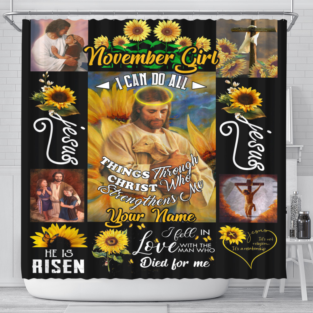 Personalized Shower Curtain November Girl I Can Do All Things Pattern 2 Set 12 Hooks Decorative Bath Modern Bathroom Accessories Machine Washable