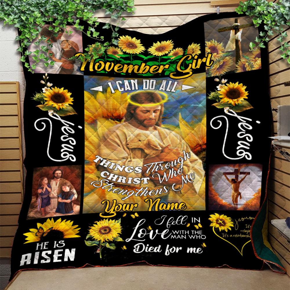 Personalized Quilt Throw Blanket November Girl I Can Do All Things Pattern 2 Lightweight Super Soft Cozy For Decorative Couch Sofa Bed