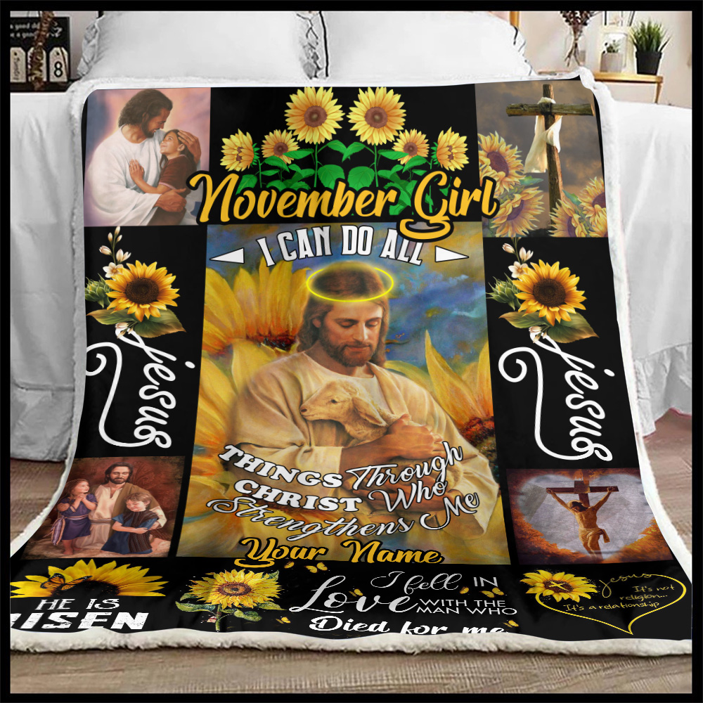 Personalized Fleece Throw Blanket November Girl I Can Do All Things Pattern 2 Lightweight Super Soft Cozy For Decorative Couch Sofa Bed