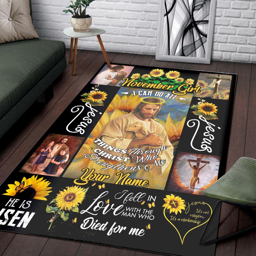 Personalized November Girl I Can Do All Things Pattern 2 Vintage Area Rug Anti-Skid Floor Carpet For Living Room Dinning Room Bedroom Office