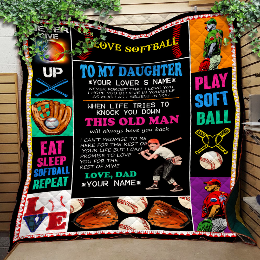 Personalized Quilt Throw Blanket To My Daughter This Old Man Pattern 2 Lightweight Super Soft Cozy For Decorative Couch Sofa Bed