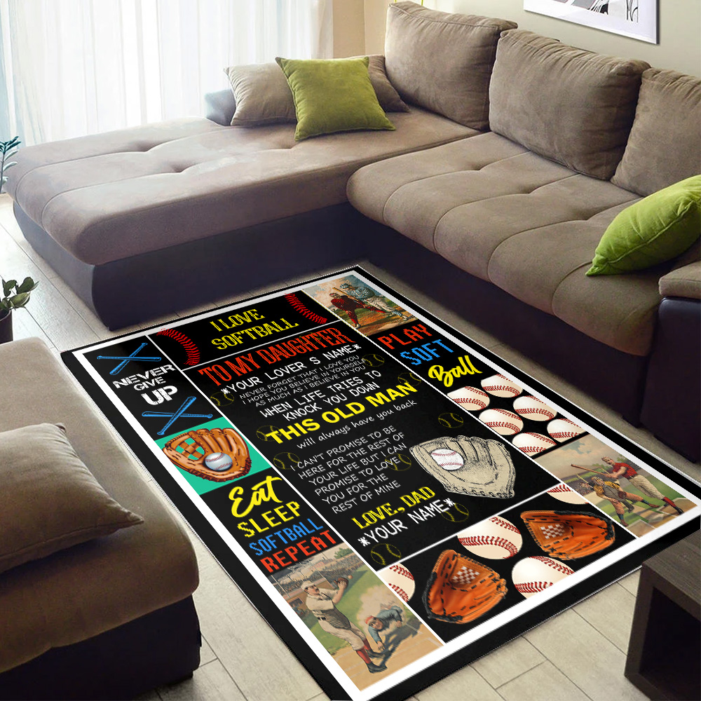 Personalized Floor Area Rugs To My Daughter This Old Man Pattern 3 Indoor Home Decor Carpets Suitable For Children Living Room Bedroom Birthday Christmas Aniversary