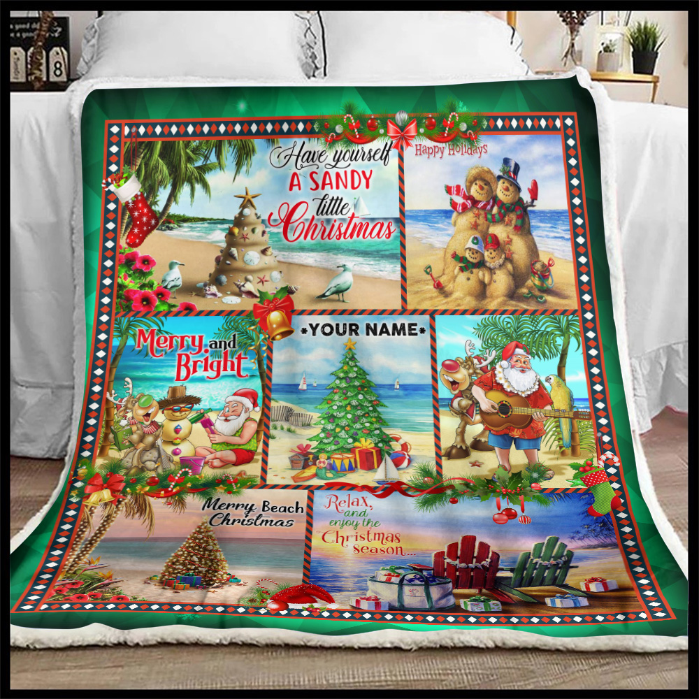 Personalized Fleece Throw Blanket Have Yourself A Sandy Little Christmas Pattern 2 Lightweight Super Soft Cozy For Decorative Couch Sofa Bed