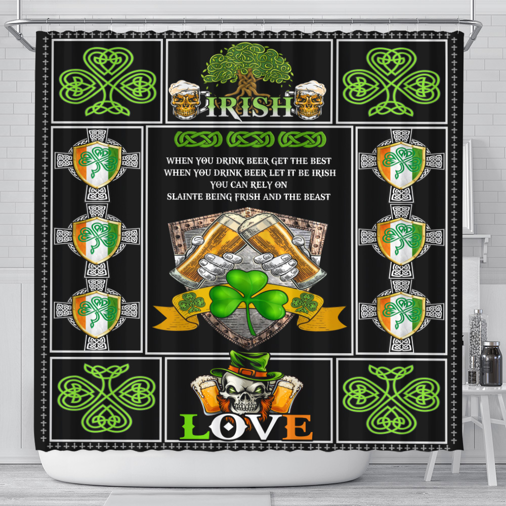 Personalized Lovely Shower Curtain St Patrick's Day Irish Drink Beer Pattern 1 Set 12 Hooks Decorative Bath Modern Bathroom Accessories Machine Washable