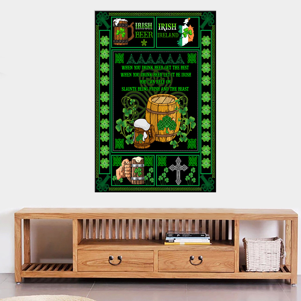 Personalized Lovely Wall Art Poster St Patrick's Day Irish Drink Beer Pattern 1 Prints Decoracion Wall Art Picture Living Room Wall