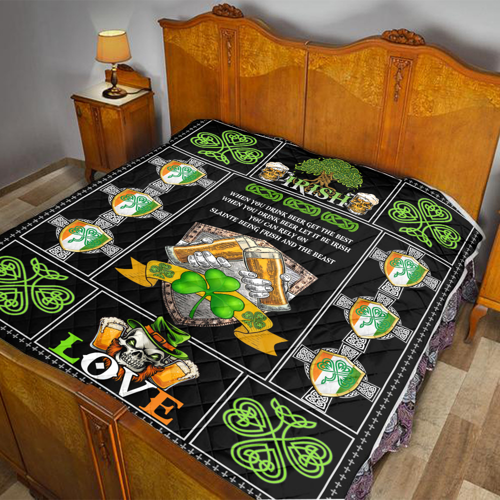 Personalized Lovely Quilt Throw Blanket St Patrick's Day Irish Drink Beer Pattern 1 Lightweight Super Soft Cozy For Decorative Couch Sofa Bed