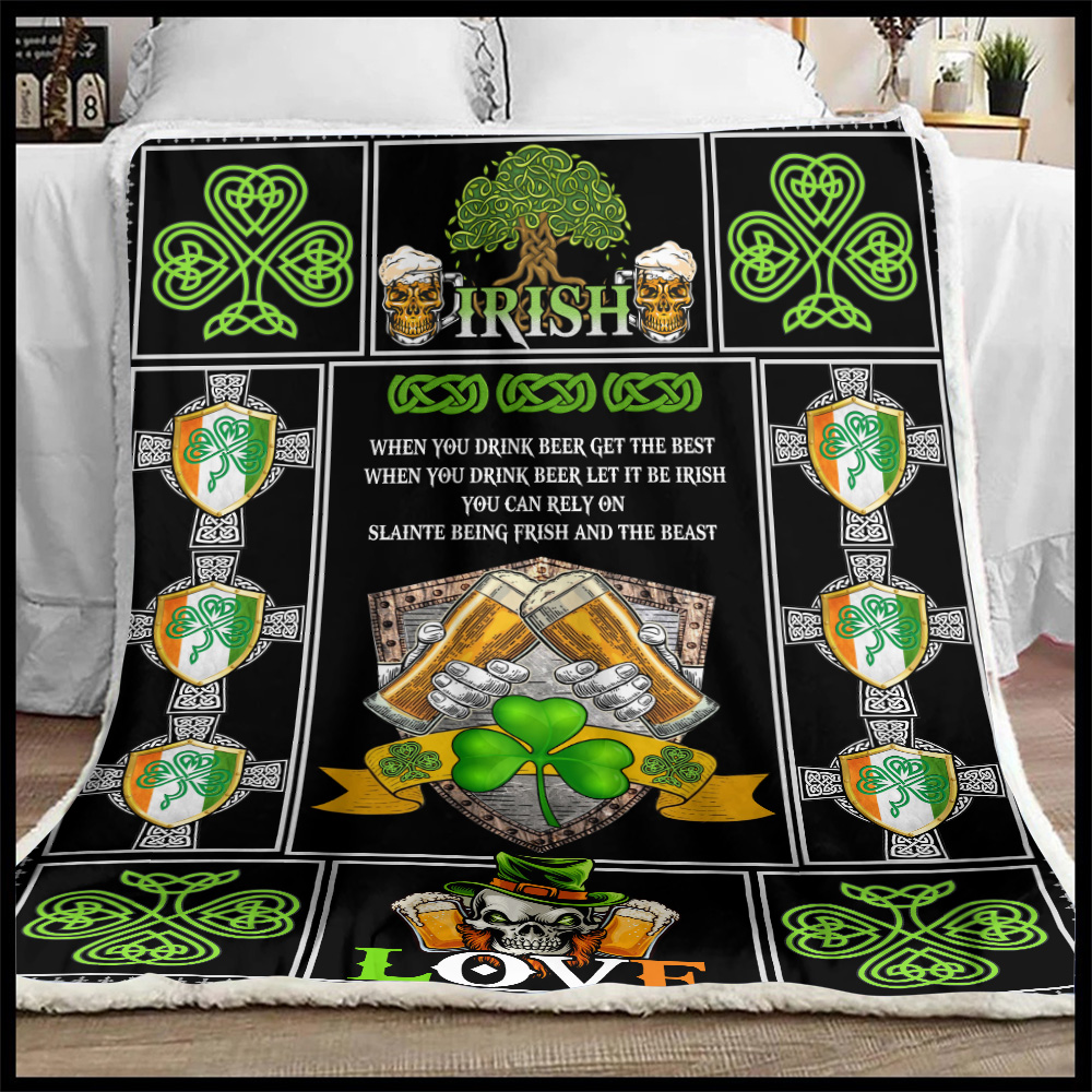 Personalized Lovely Fleece Throw Blanket St Patrick's Day Irish Drink Beer Pattern 1 Lightweight Super Soft Cozy For Decorative Couch Sofa Bed