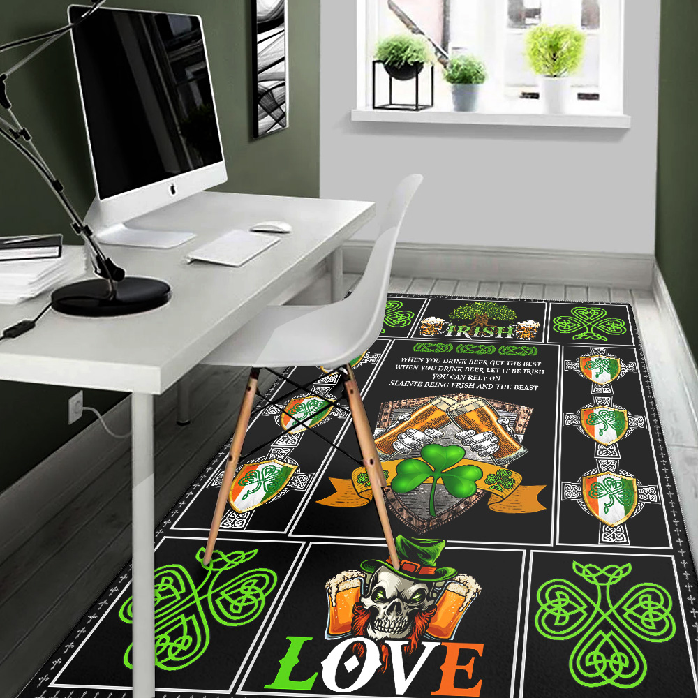 Personalized Lovely Rectangle Rug St Patrick's Day Irish Drink Beer Pattern 1 Vintage Area Rug Anti-Skid Floor Carpet For Living Room Dinning Room Bedroom Office