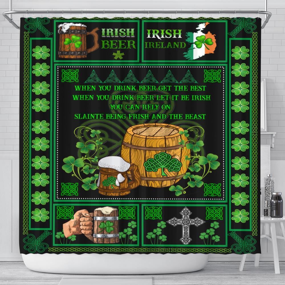 Personalized Lovely Shower Curtain St Patrick's Day Irish Drink Beer Pattern 2 Set 12 Hooks Decorative Bath Modern Bathroom Accessories Machine Washable