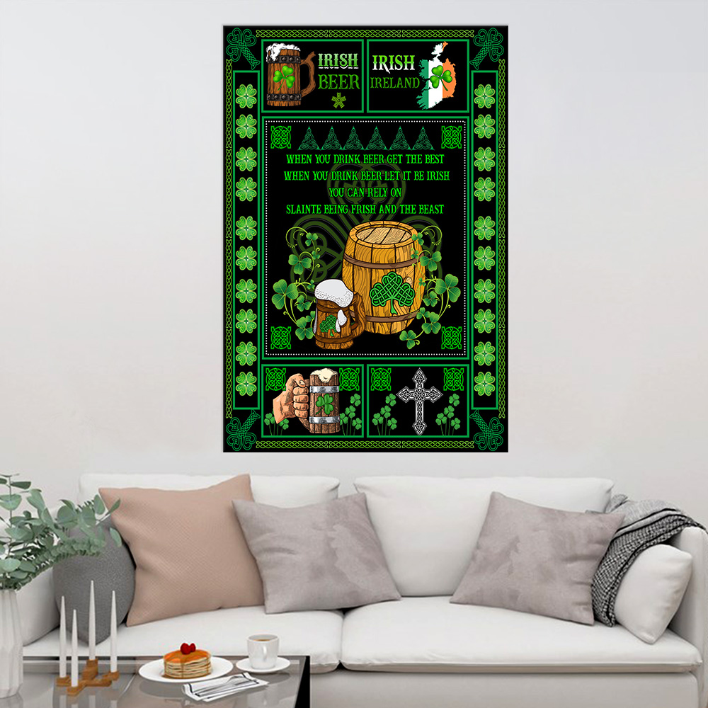 Personalized Lovely Wall Art Poster St Patrick's Day Irish Drink Beer Pattern 2 Prints Decoracion Wall Art Picture Living Room Wall