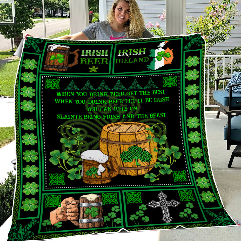 Personalized Lovely Fleece Throw Blanket St Patrick's Day Irish Drink Beer Lightweight Super Soft Cozy For Decorative Couch Sofa Bed