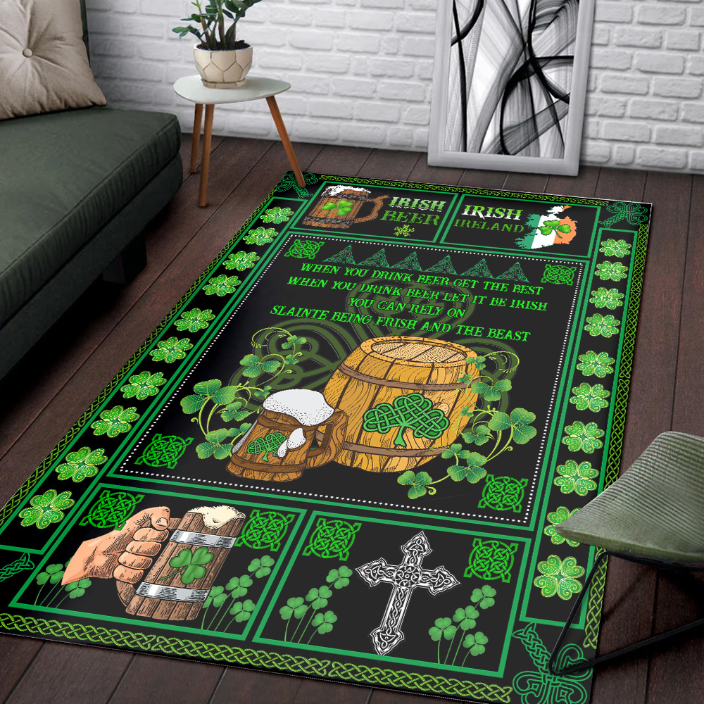 Personalized Lovely Rectangle Rug St Patrick's Day Irish Drink Beer Pattern 2 Vintage Area Rug Anti-Skid Floor Carpet For Living Room Dinning Room Bedroom Office