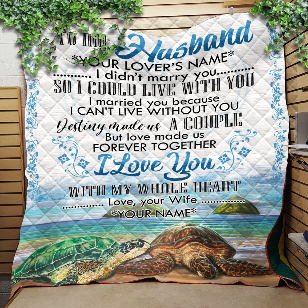 Personalized Quilt Throw Blanket To My Husband I Love You With My Whole Heart Lightweight Super Soft Cozy For Decorative Couch Sofa Bed