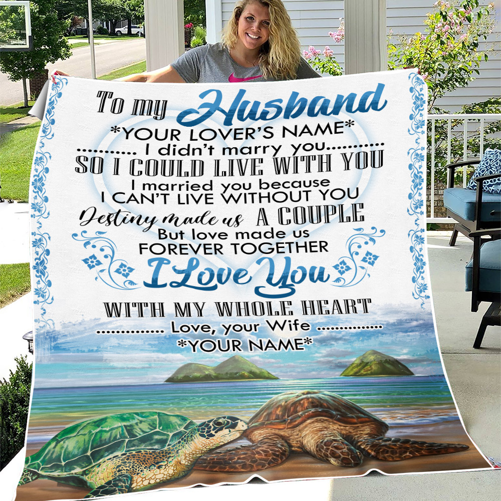 Personalized Fleece Throw Blanket To My Husband I Love You With My Whole Heart Lightweight Super Soft Cozy For Decorative Couch Sofa Bed