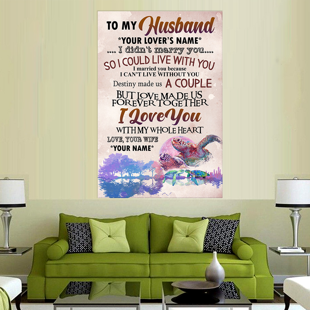 Personalized Wall Art Poster Canvas 1 Panel To My Husband I Love You With My Whole Heart Great Idea For Living Home Decorations Birthday Christmas Aniversary