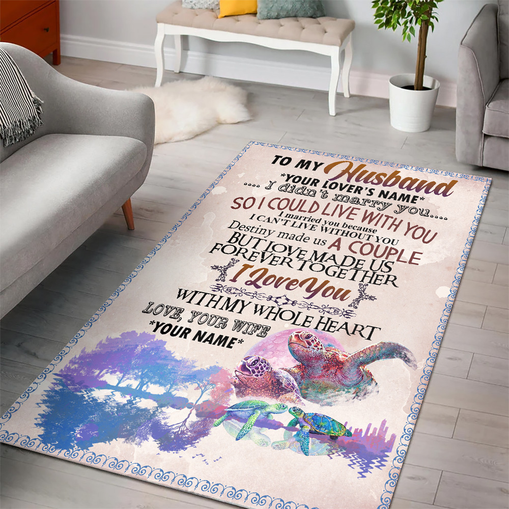 Personalized Floor Area Rugs To My Husband I Love You With My Whole Heart Indoor Home Decor Carpets Suitable For Children Living Room Bedroom Birthday Christmas Aniversary