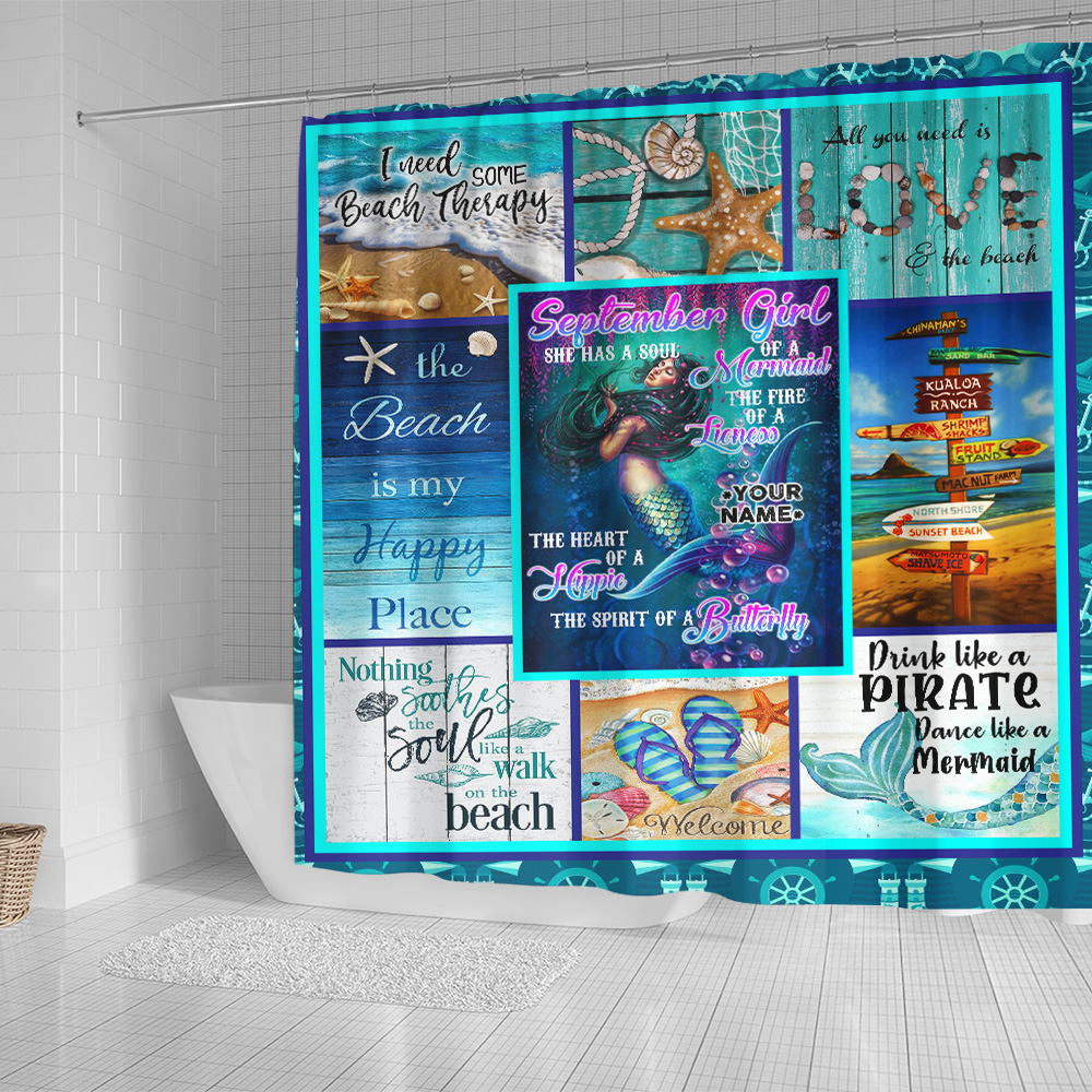 Personalized Shower Curtain September Girl She Has A Soul Of A Mermaid Pattern 1 Set 12 Hooks Decorative Bath Modern Bathroom Accessories Machine Washable