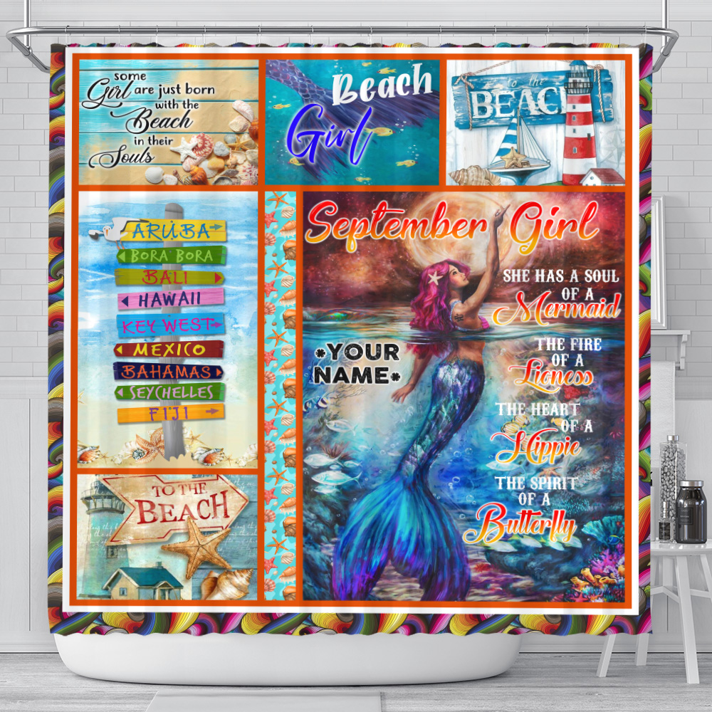 Personalized Shower Curtain September Girl She Has A Soul Of A Mermaid Pattern 2 Set 12 Hooks Decorative Bath Modern Bathroom Accessories Machine Washable