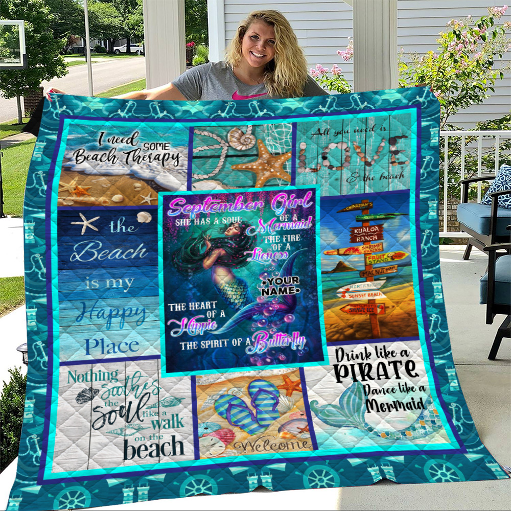 Personalized Quilt Throw Blanket September Girl She Has A Soul Of A Mermaid Pattern 1 Lightweight Super Soft Cozy For Decorative Couch Sofa Bed