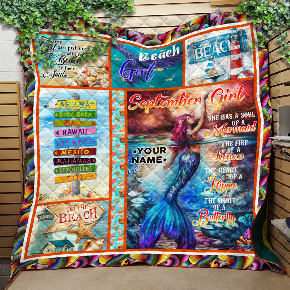 Personalized Quilt Throw Blanket September Girl She Has A Soul Of A Mermaid Pattern 2 Lightweight Super Soft Cozy For Decorative Couch Sofa Bed